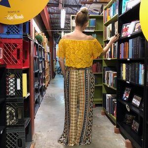 Pants - Off Shoulder Yellow Top & Wide Leg Bohemian Pants